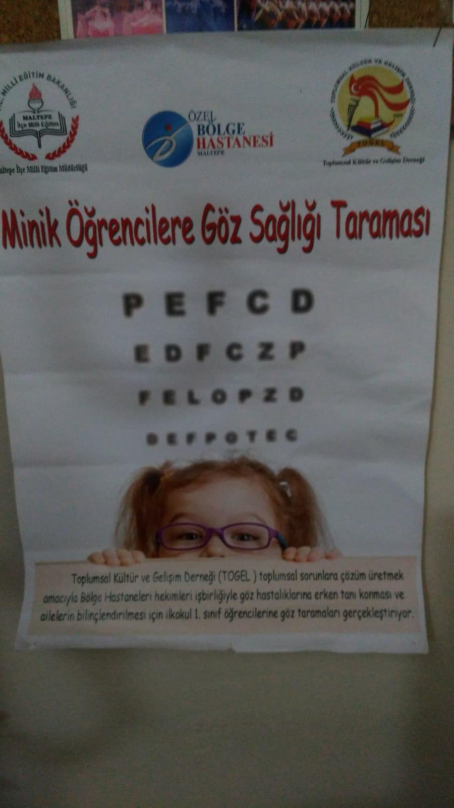 Minik Öğrencilere Göz Sağlığı Taraması